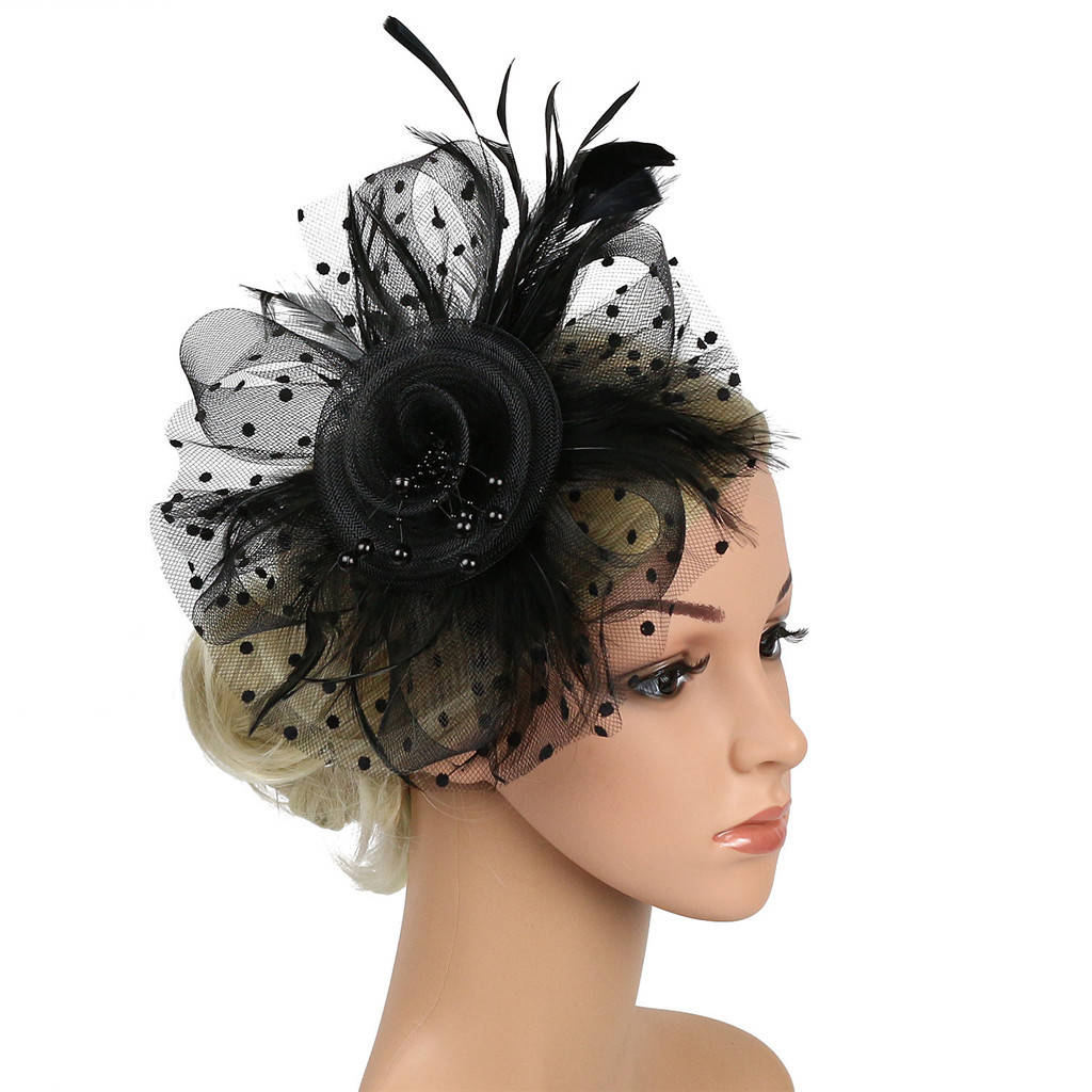 VARIOUS COLOURS MESH FLOWER /& FEATHER FASCINATOR BNWT COMB FASTENING