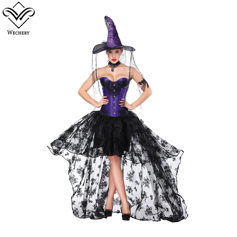 Wechery Cosplay Costume Sexy High Wait Skirt with Victorian Lace Up Bustier Tops Steampunk Retro Maxi Skirts & Strapless Corsets