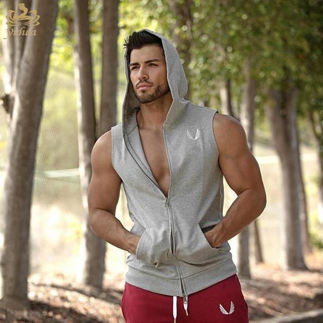 baf21c4cfdabf Mens Sport Vest Gym Slim Body Cotton Spandex Breathable Running Vest Waist  Training Vest with Zipper Hooded Play basketball