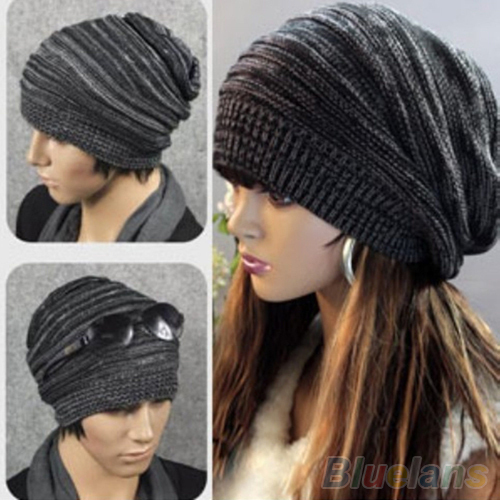 New Unisex Womens Mens Knit Baggy Beanie Hat Winter Warm Oversized Cap 1P8L 2016 new hot unisex winter plicate baggy beanie knit crochet hat oversized cap