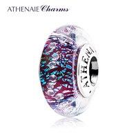 ATHENAIE Genuine Murano Glass 925 Silver Core Dark Purple Shimmer Multi Clear CZ Charm Bead Fit