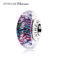 ATHENAIE Genuine Murano Glass 925 Silver Core Dark Purple Shimmer Multi Clear CZ Charm Bead Fit