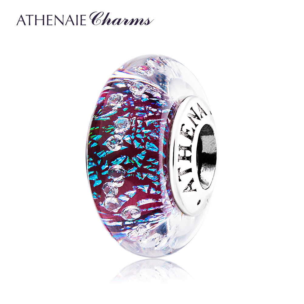 ATHENAIE Genuine Murano Glass 925 Silver Core Dark Purple Shimmer Multi-Clear CZ Charm Bead Fit All European Bracelets