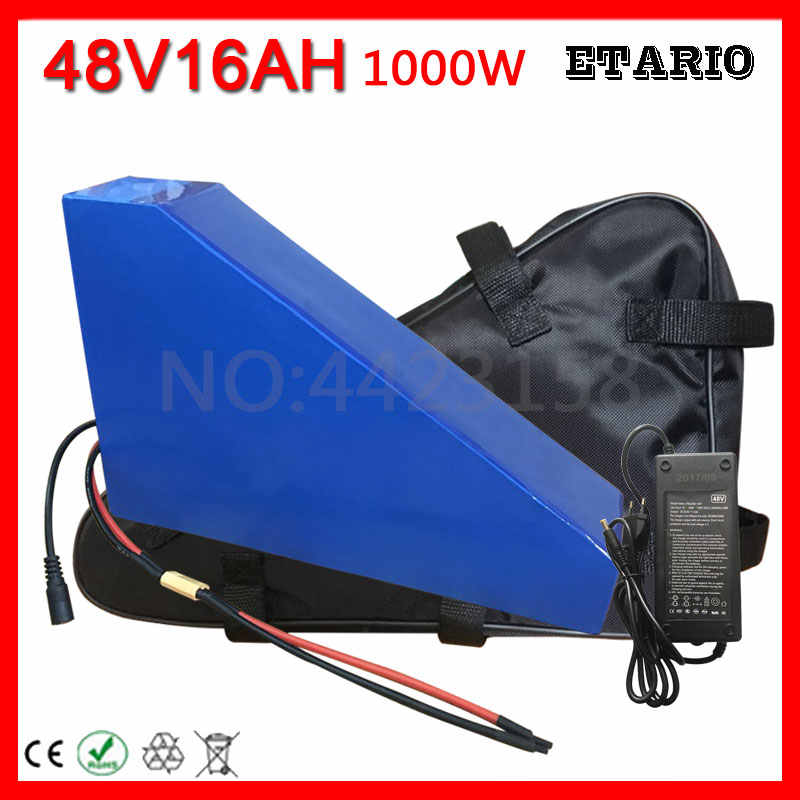 Triangle Shape Electric Bike Battery 48V 15AH Ebike Battery for Bafang 750W 1000W Mid Motor with 2A Charger 30A BMS + Free Bag