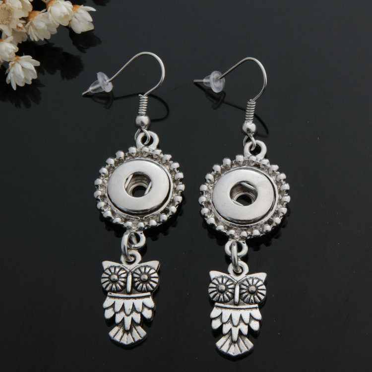 Hot sale JA0036 Owl metal snap earrings fashion pair fit 12mm snap buttons DIY earrings wholesale beauty image