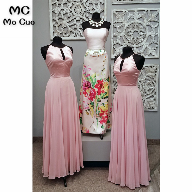 Blush Pink 2018 Off shoulder   Bridesmaid     Dresses   Pleat Chiffon Wedding Party   Dress   vestido de festa Women   bridesmaid     dress