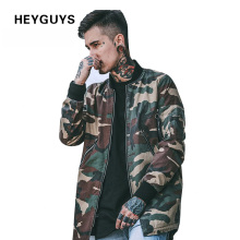 HEYGUYS 2018 high street Europe camo Hip Hop Suit Pullover Winter Jacket Coat men