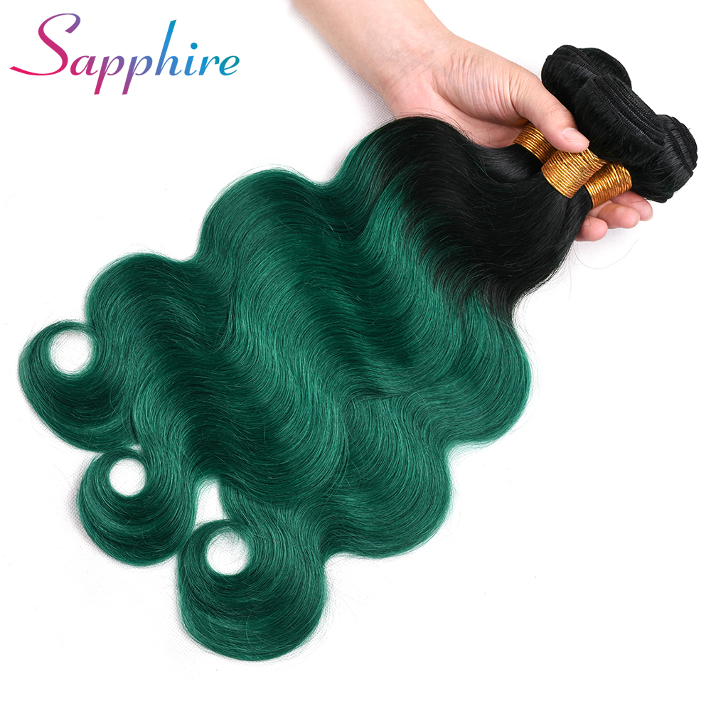 SAPPHIRE Hair Malaysian Body Wave Bundles 100% Remy Human Hair 4 Bundles Ombre Color TB/Green Hair Extensions Free Shipping