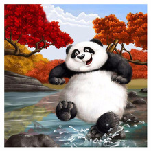 5D DIY Diamond Painting Panda Full Square Embroidery Cross Stitch Cute Playing Animal Needlework Home Decorative