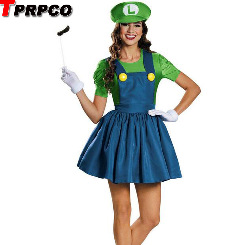 TPRPCO Halloween Super Mario Luigi Bros Costume Women Sexy Dress Plumber Costume Adult Mario Bros Cosplay Costume Dress N147