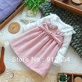Бесплатная доставка новые 2015 весна осень девушки одежду ребенка платье девушка розовый жилет платье принцессы дети рукавов all-матч платья
