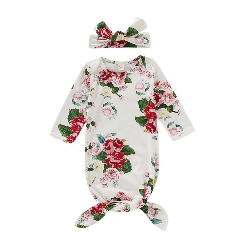 HIgh Quality Autumn Baby Girls Long Sleeve Rompers Cotton Floral Print Sleepwear Outfits+Headband Newborn Sleeping Bag Set