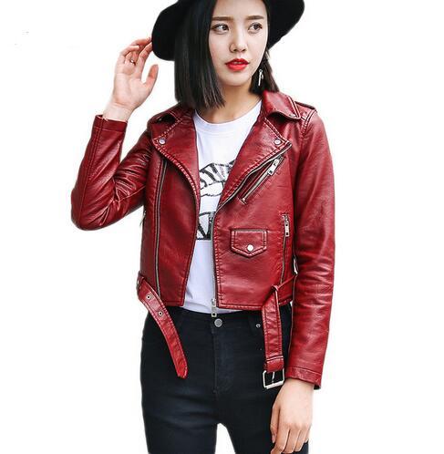 New 2018 Pu Leather Jacket Women Fashion Pink Motorcycle Jacket Short Leatherette Rider Jacket Soft Jacket
