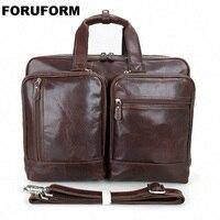 17 дюймов портфель для ноутбука из натуральной кожи мужская сумка портфель Мужская Сумка Деловые сумки Ma винтажные сумки через плечо LI 1364