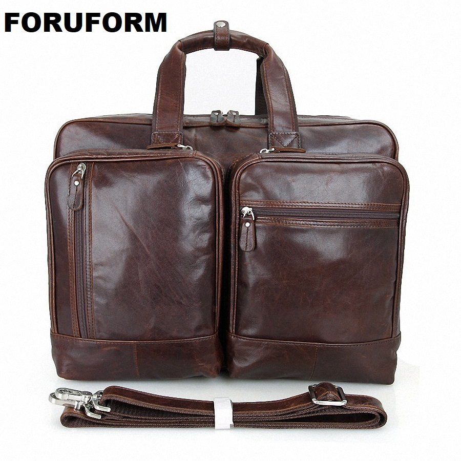 17 Inch Laptop Briefcase Genuine Leather Men Bag Briefcase Men Handbag Business Bags Ma Vintage Shoulder Messenger Bags LI-1364