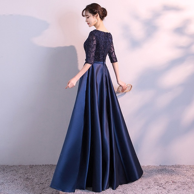 DongCMY New 2019 Long Formal Evening Dresses Elegant Lace Satin Navy Blue Vestidos Women Party Gown 2