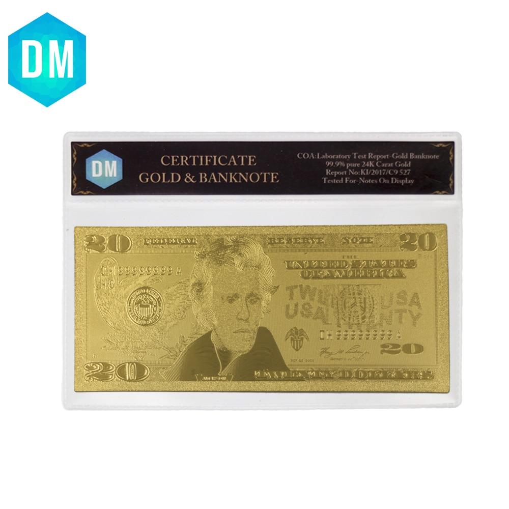 Горячая продажа 24k Золотая банкнота позолоченная фольга художественное оформление подарочная бумага денежная копия банкнота USD 20 доллар Ба...