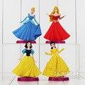 4 unids/set 12 cm Juguetes de Disney Princesa Blancanieves Cenicienta Niña Muñeca de Juguete Niños PVC Figuras de Acción Anime Conjunto Base Brinquedos