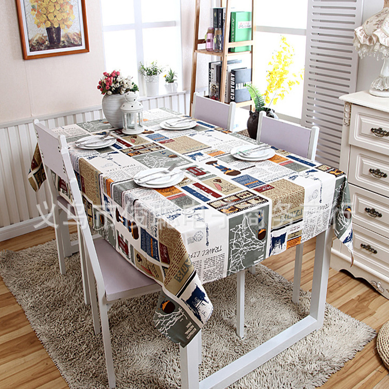 Cotton Tablecloth Canvas Table Cover Mat Cartoon Paris Newspaper Coffee Table Cloth Cover