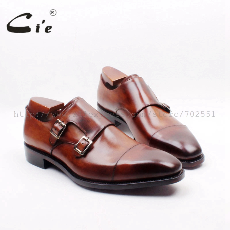 cie Square Cap Plain Toe Hand-Painted Brown Double Monk Straps 100% Genuine Calf Leather Italian Goodyear Welted  Men ShoeMS155 double buckle cross straps mid calf boots