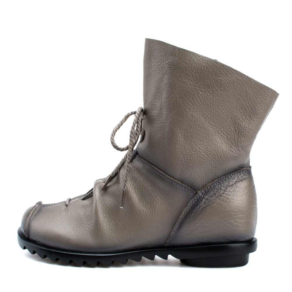 Plus Size Lederen Vrouwen Laarzen Herfst Winter Mode Geplooide Enkellaarsjes Warme Zachte Outdoor Casual Platte Schoenen Voor Dames