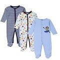 Mother nest 3 peças/lote romper do bebê mangas compridas 100% pijama de algodão do bebê dos desenhos animados impresso bebê recém-nascido meninas meninos roupas