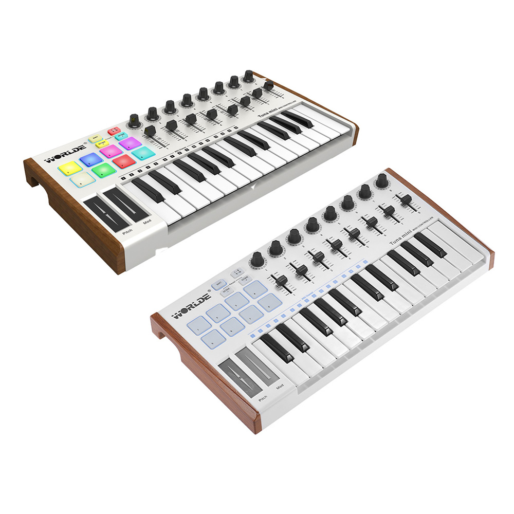 25-Key MINI Ultra-Portable USB MIDI Keyboard Controller  MIDI Controller 8 RGB Backlit Trigger Pads With 6.35mm Pedal Jack