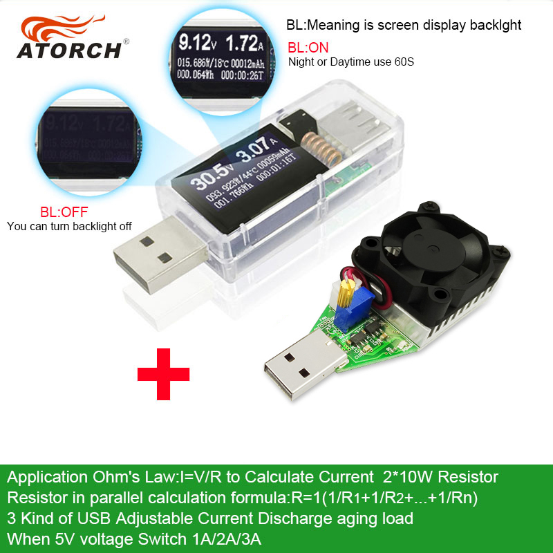 ATORCH USB tester + DC load Voltímetro digital 15W power bank - Instrumentos de medición - foto 2