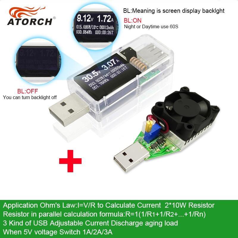 ATORCH USB tester + DC zátěž Digitální voltmetr 15W power bank - Měřicí přístroje - Fotografie 2