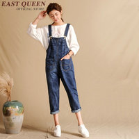 2018 new fashion jumpsuit woman jeans casual loose cotton denim women jumpsuits elegant hole pockets denim overalls KK363 Q