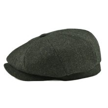 BOTVELA Wool Tweed Newsboy Cap Herringbone Men Women Classic Retro Hat with Soft Lining Driver Cap Black Brown Green 005