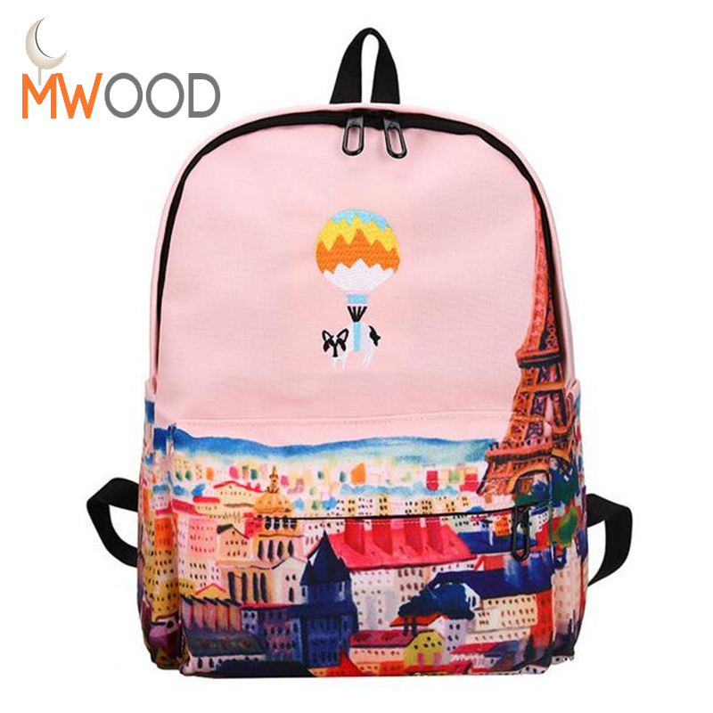 Brand Hot Balloon Cute Animal Embroidery Canvas Backpack Landscape Printing Teenagers School Bag Casual Large Travel Bag Mochila ao058m 2m hot selling inflatable advertising helium balloon ball pvc helium balioon inflatable sphere sky balloon for sale