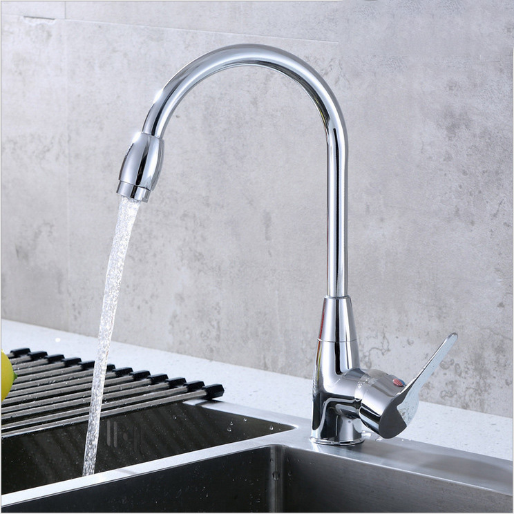 Zinc Alloy Kitchen Sink Mixer Single-top Crane 360 Degree Rotatable Head Hot And Cold Water Faucet Kitchen Sink Faucet