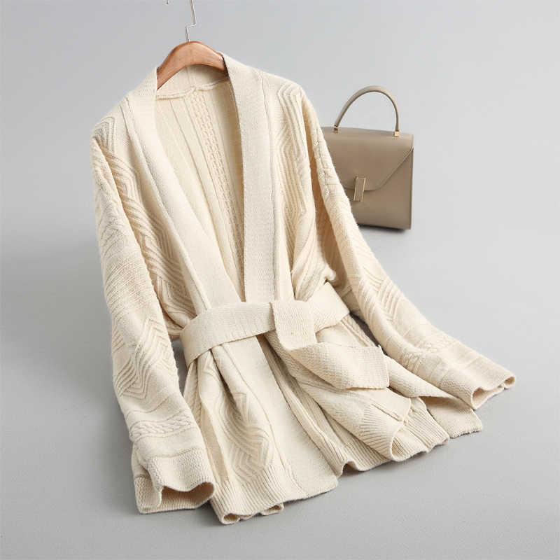 Женские кардиганы и пальто, повседневный Однотонный свитер, кардиган, свитер, толстый декоративный пояс