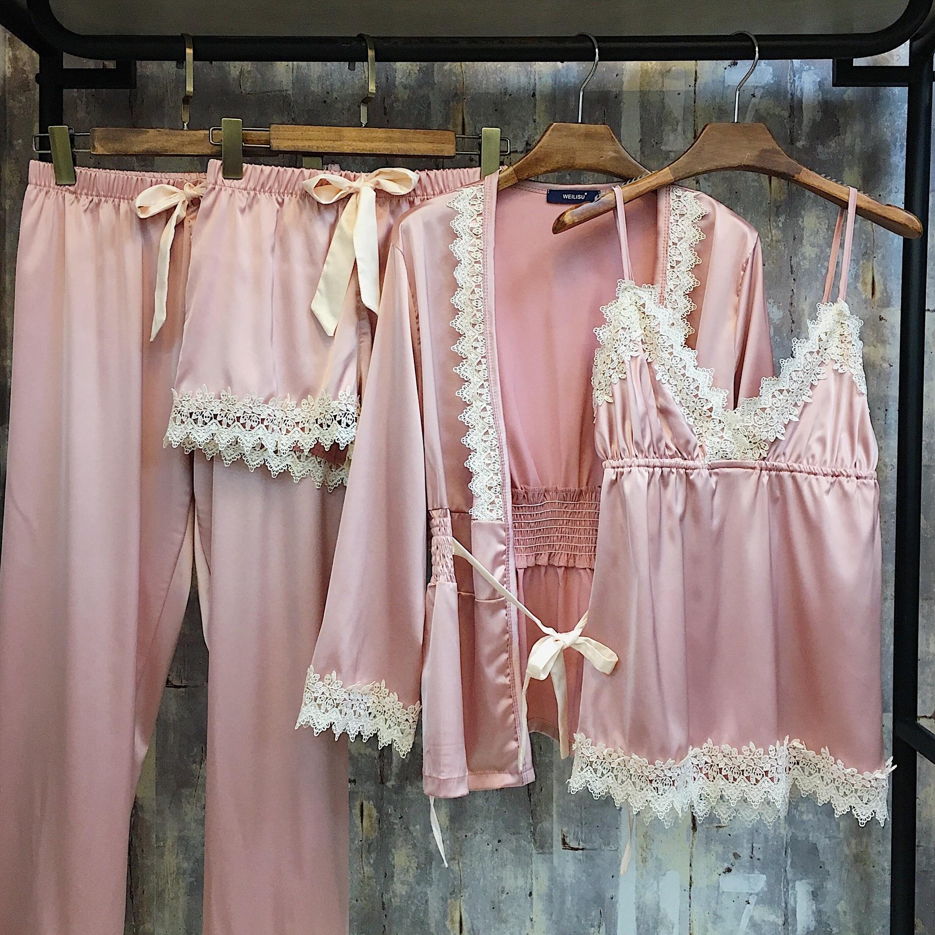 Printemps nouveau Satin soie pyjamas femmes dentelle épissé Sexy Lingerie ensembles dentelle-Up vêtements de nuit femmes chemise de nuit 4 pièces maison costumes