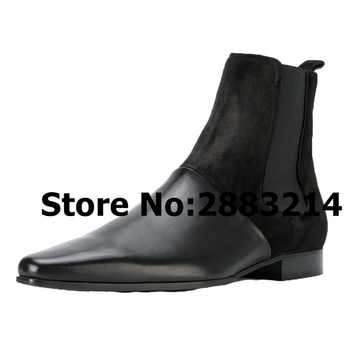 Pointed Toe Genuine Leather Slip-on Men Rome Designed Chelsea Boots Black Gold Leather Casual Man Ankle Boots Shoes Wholesale