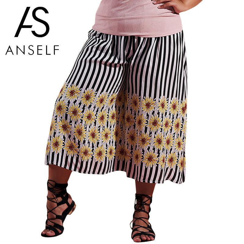 Anself Women Cropped   Wide     Legs     Pants   Striped Floral Print Boho Pantalones Mujer Elastic High Waist 4XL Plus Size Crop Trousers