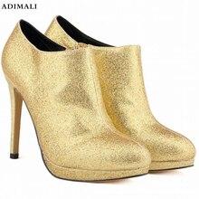 Женская обувь зима 2018 Новый блестками молния указал зимние сапоги Для женщин на высоком каблуке Зимние Модные женские ботильоны Большие размеры