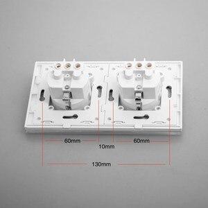 Image 3 - Frete grátis, schuko de tomada dupla ue, painel de vidro cristal grande, saída padrão KP002EU W da ue