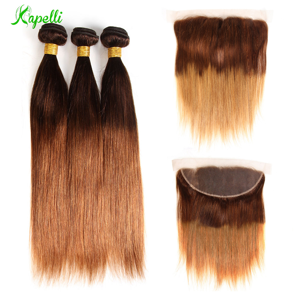Ombre Bundles With Frontal Honey Peruvian Blonde Bundles With Closure 13*4 Remy Straight Hair Bundles With Frontal Free Shipping