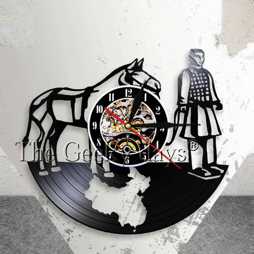 Chinese Guide The Emperor To The Next Life Vintage Art Wall Clock Xian Chinese Terracotta Warriors Horse Vinyl Record Wall Clock