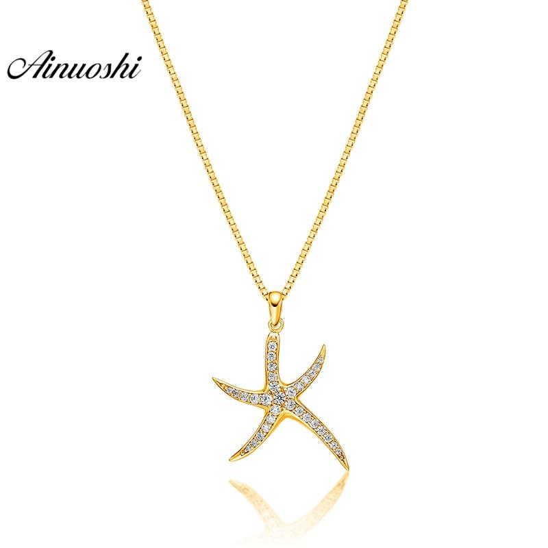 купить AINUOSHI 10K Solid Yellow Gold Pendant Shining Starfish Pendant SONA Diamond Women Men Jewelry Little Animal Separate Pendant недорого