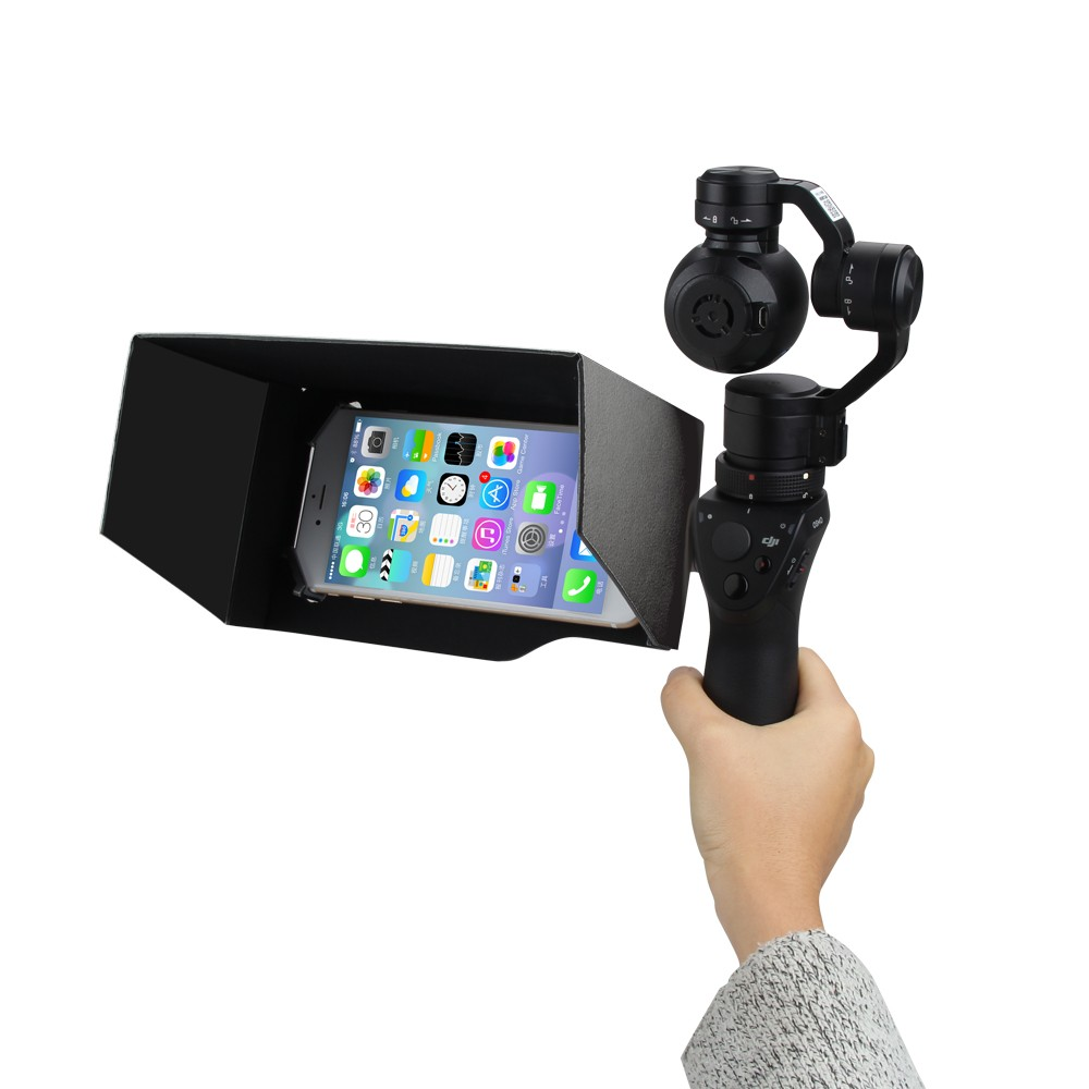 PGY Tech DJI Osmo Accessories Updated Parts 5.5 Inch Foldable Mobile Phone Sunshade Sun Hood Black