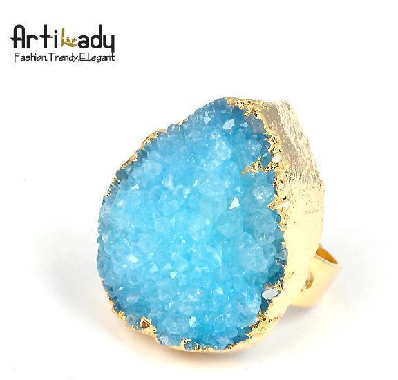 Artilady Fashion jade Drusy Agate  Druzy Quartz  Stone rings natrual  crystal stone brand accessories ring  free shipping