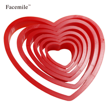 6PCS/Set Love Heart Shape Biscuit Cookie Cake Maker Mold Edge Cutters DIY Baking cake Tools