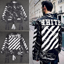 2016 winter new hip hop Tie-dye marble crack crack 13 Pyrex C/O Virgil Abloh OFF WHITE jacket shirts  stripes men coats