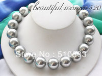 Beautiful 17inch 20MM GRAY ROUND SOUTH SEA SHELL PEARL NECKLACE