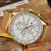 New Men Watch With Full Net Stainless Steel Band Curren Quartz Wristwatch Relogio Masculino With 3