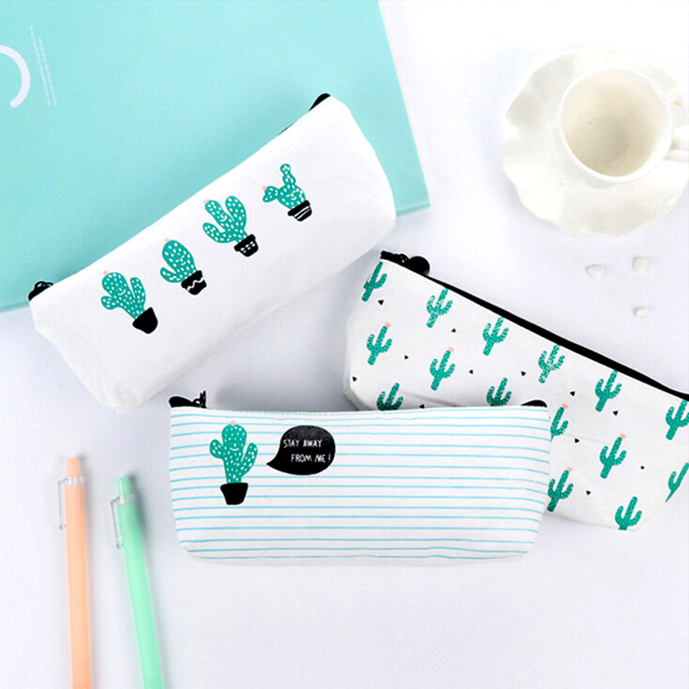 2017 Kawaii Pencil Case Cactus Canvas School Supplies Stationery Gift Estuches School Cute Pencil Box Pencilcase Pencil Bag