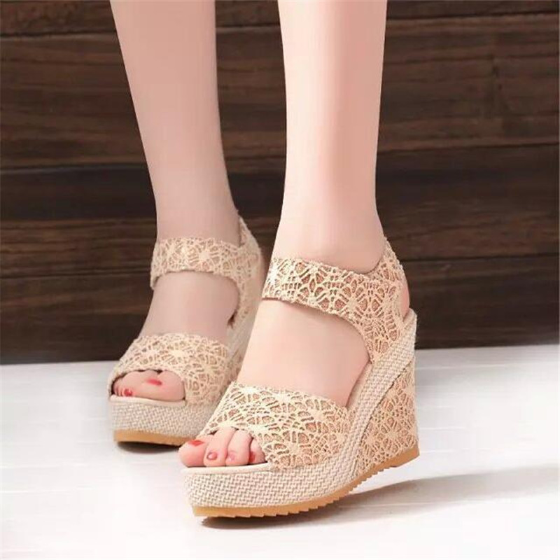 Summer new wedge with fish mouth female sandals comfortable casual platform womens high heels female student Open toe sandalsSummer new wedge with fish mouth female sandals comfortable casual platform womens high heels female student Open toe sandals